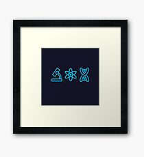 Neon Blue Science Icons  Framed Print