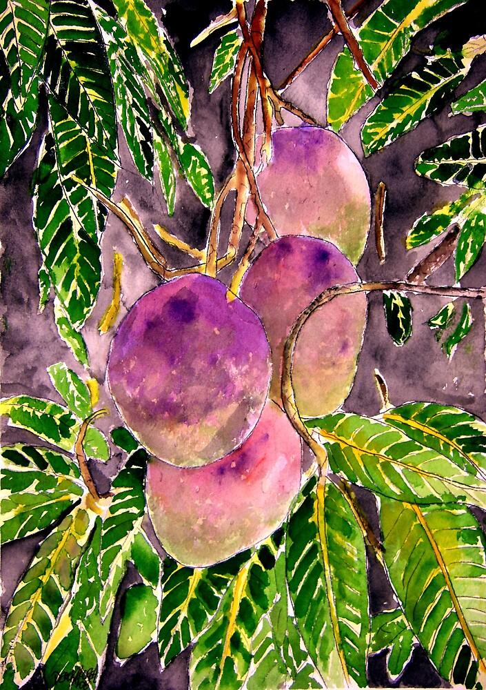 Mango tree fruit still life painting art by derekmccrea