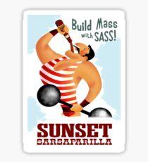 Build Mass With Sass! Sunset Sarsaparilla Poster Sticker