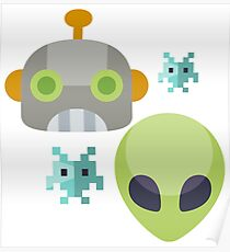Alien Robot Space Game Icon Poster
