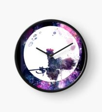 Little Witch Flying Over Moon Clock