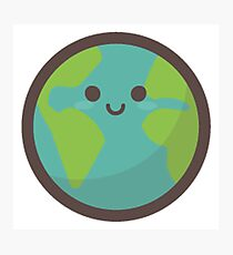 Cute Happy Earth Face Photographic Print