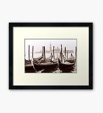 Sepia Gondolas Framed Print