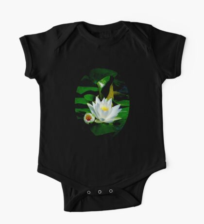 White Water Lily and Bud on Lily Pad Kids Clothes