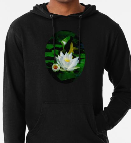 White Water Lily and Bud on Lily Pad Lightweight Hoodie