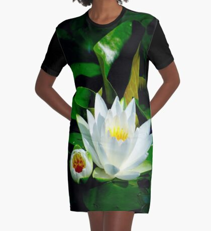 White Water Lily and Bud on Lily Pad Graphic T-Shirt Dress