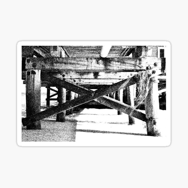 Underneath the Busselton Jetty Black & White Sticker