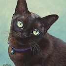 Black Burmese Cat Moose - Rectangle by artbyakiko