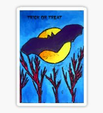 Halloween bat and moon trick or treat Sticker