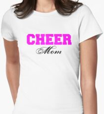 Cheer Mom Typography in Pink and Black Women's Fitted T-Shirt