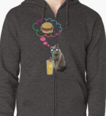 Funny Cat T-Shirt- hamburger cat. Zipped Hoodie