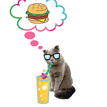 Funny Cat T-Shirt- hamburger cat. by sgibby80