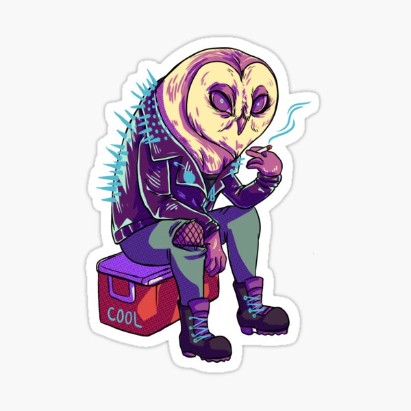 Barn owl bums a smoke Sticker