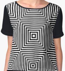 Square Optical Illusion Black And White Chiffon Top
