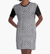 Square Optical Illusion Black And White Graphic T-Shirt Dress