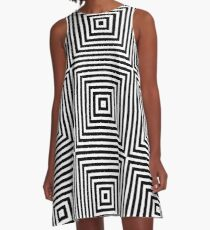 Square Optical Illusion Black And White A-Line Dress