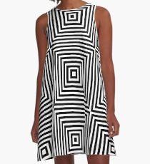 Square Optical Illusion Black And White A-Line Dress