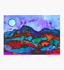 Night in the mountains alcohol ink painting Photographic Print
