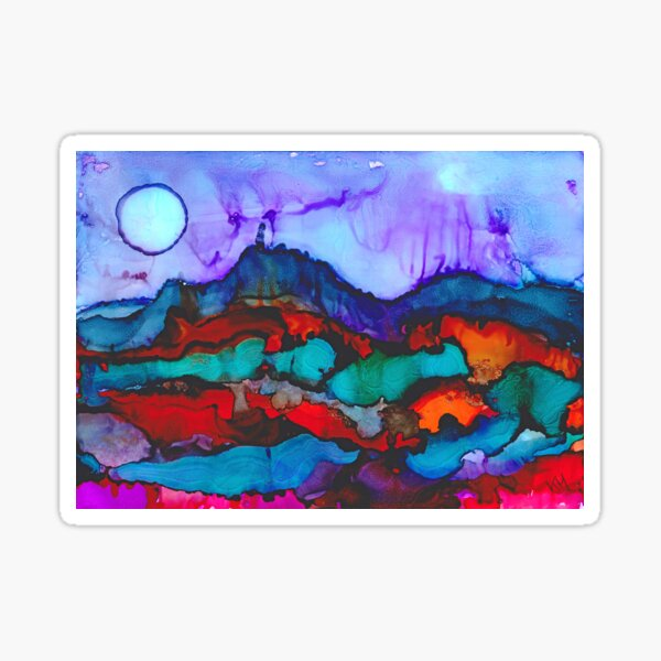 Night in the mountains alcohol ink painting Sticker