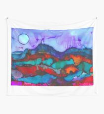 Night in the mountains alcohol ink painting Wall Tapestry
