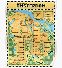 Super Mario Bros 3 Style Amsterdam Metro Network Map Poster