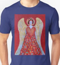 Angel of Love Painting Guardian Angel Painting with Red Heart T-Shirt