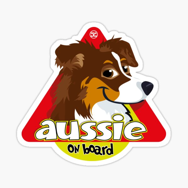 Aussie On Board - Brown Tricolor Sticker