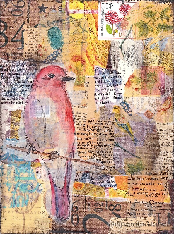 Quot Mixed Media Collage Bird Quot By Kitty Van Den Heuvel Redbubble