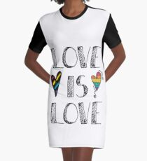 Love Is Love Doodles LGBT Graphic T-Shirt Dress