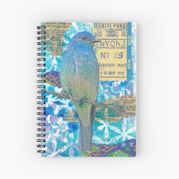 Mixed media collage bird blue jay Spiral Notebook