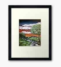 Hand-Painted Bright Sunset using Acrylic Paints Framed Print