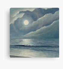 Moonlit ocean path - mangata Canvas Print