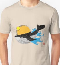 Whale 001 in Black Unisex T-Shirt