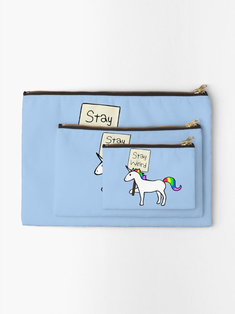 Alternate view of Stay Weird, Unicorn Zipper Pouch