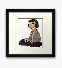 Computer Man Caricature #5 - Teenager Guy Framed Print