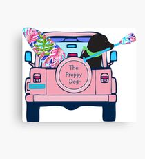 Preppy Pink Jeep Black Lab SUP Board Canvas Print