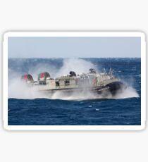 A landing craft air cushion transits the Atlantic Ocean. Sticker