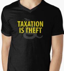 Being Libertarian , Taxation Is Theft Men's V-Neck T-Shirt
