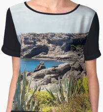 Coast of the Mediterranean Sea with rocks and plants Women's Chiffon Top