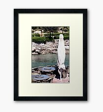 Outdoor cafe by the seaside.  Framed Print