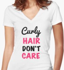 curly hair dont care Women's Fitted V-Neck T-Shirt