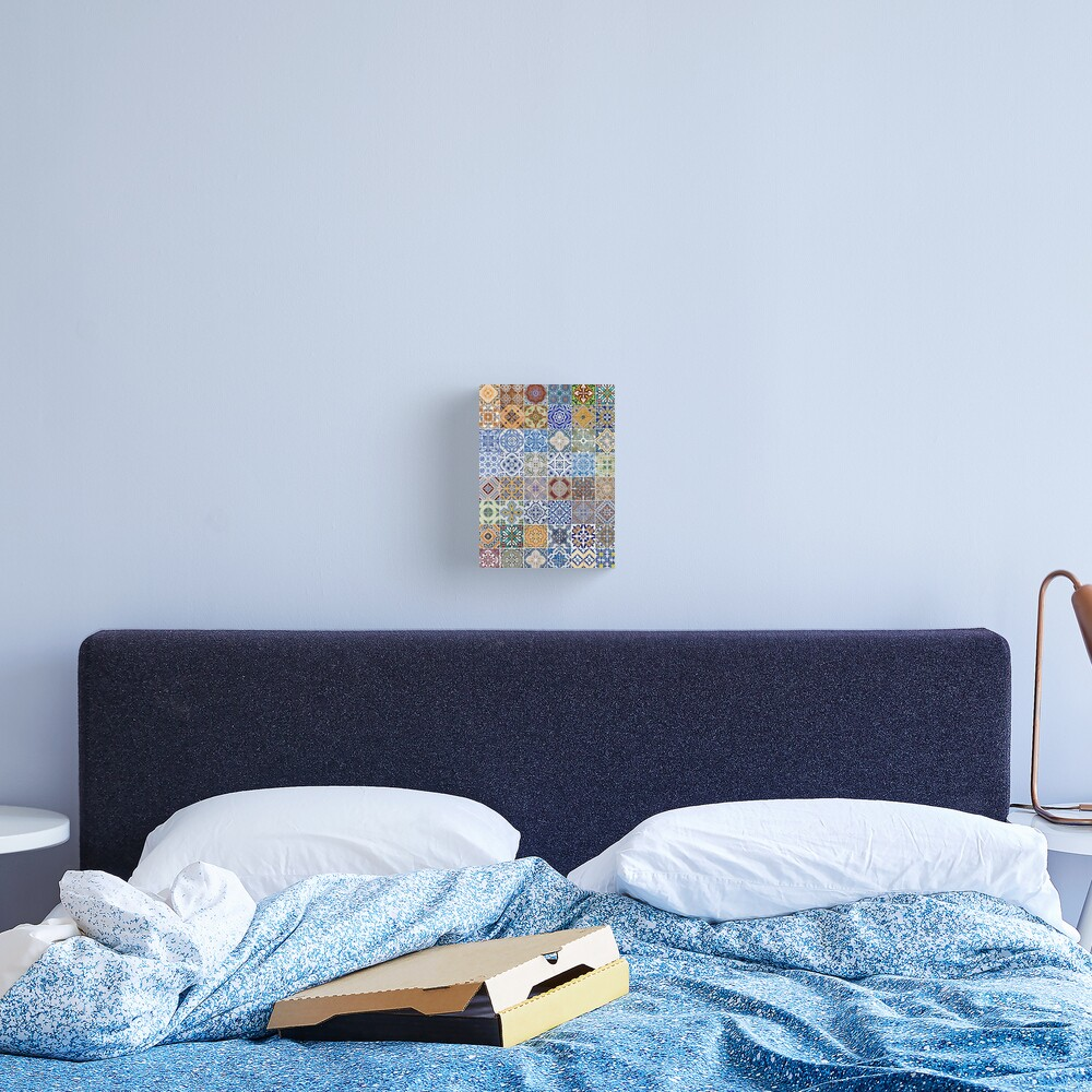Set of 48 ceramic tiles patterns Canvas Print