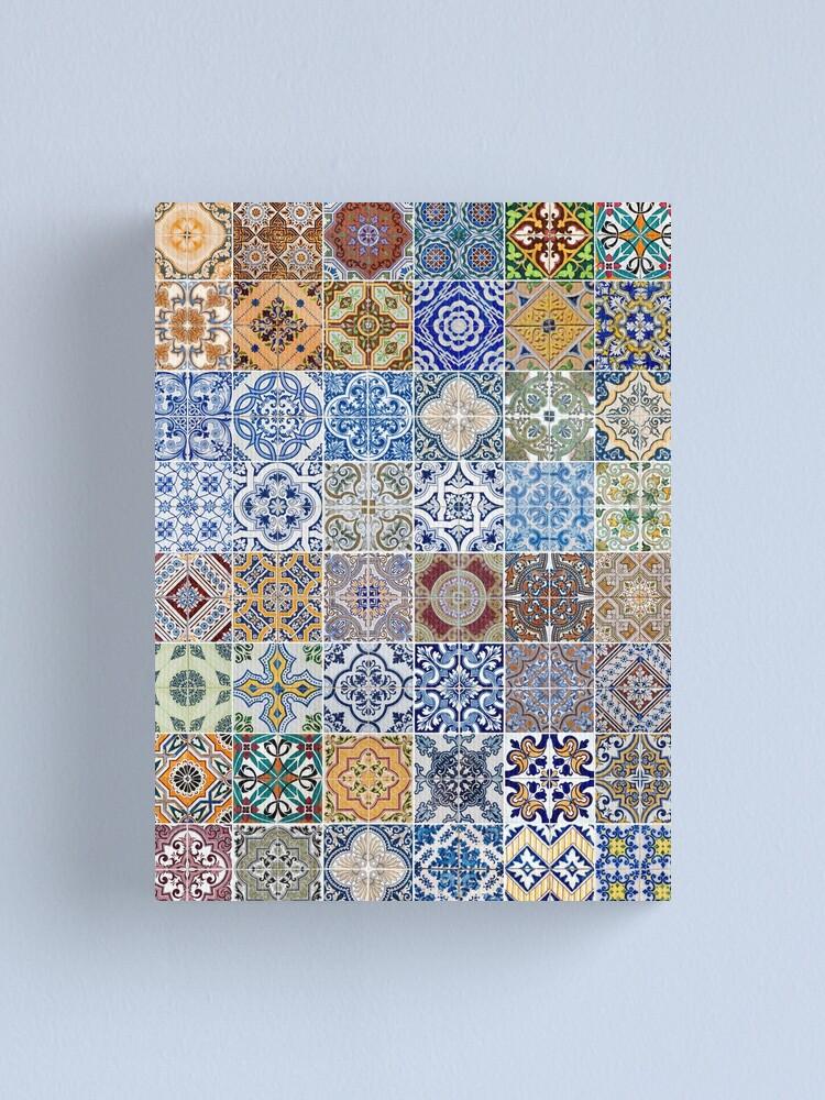 Alternate view of Set of 48 ceramic tiles patterns Canvas Print
