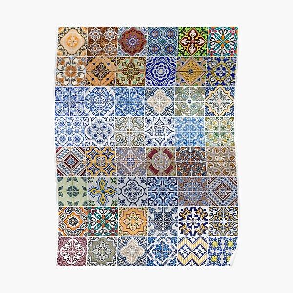Set of 48 ceramic tiles patterns Poster