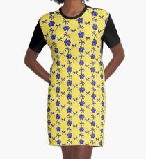 Gold Trimmed Blue Designs Graphic T-Shirt Dress
