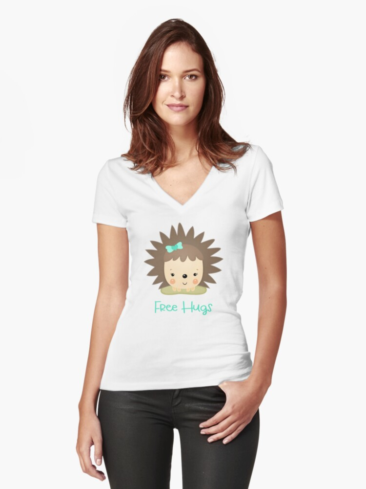 Free Hugs Porcupine Women's Fitted V-Neck T-Shirt Front