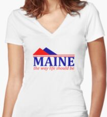 Maine Women's Fitted V-Neck T-Shirt
