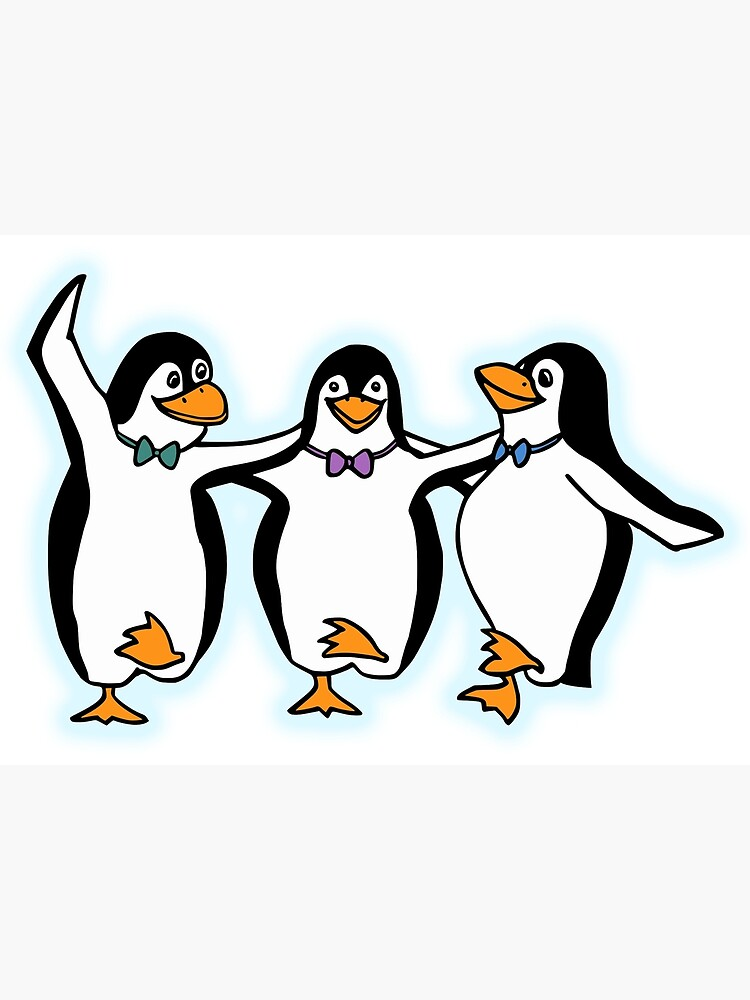 Penguin Party Dancing Cartoon Fun Funny Greeting Card By Tomsredbubble Redbubble