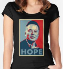 "Elon Musk ""Hope"" Poster Women's Fitted Scoop T-Shirt"