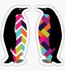 Two Geometric Pattern Penguins. Herringbone and Chevron. Sticker
